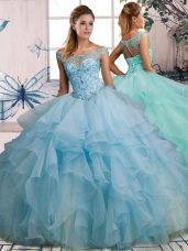 Superior Light Blue Lace Up Quinceanera Gowns Beading and Ruffles Sleeveless Floor Length