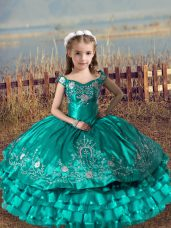 Turquoise Sleeveless Satin and Organza Lace Up Little Girls Pageant Gowns for Wedding Party