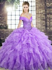 Flirting Off The Shoulder Sleeveless Organza Quince Ball Gowns Beading and Ruffles Brush Train Lace Up