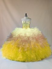 High Quality Multi-color Ball Gowns Organza Sweetheart Sleeveless Beading and Ruffles Floor Length Lace Up Quinceanera Gown