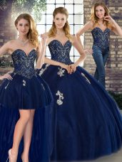 Sweet Sleeveless Tulle Floor Length Lace Up Vestidos de Quinceanera in Navy Blue with Beading and Appliques