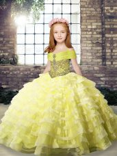 Sleeveless Organza Brush Train Lace Up Kids Pageant Dress in Yellow with Beading and Ruffled Layers