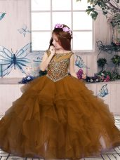 Elegant Brown Lace Up Glitz Pageant Dress Beading and Ruffles Sleeveless Floor Length