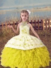 Hot Selling Halter Top Sleeveless Girls Pageant Dresses Floor Length Beading and Embroidery and Ruffles Gold Organza