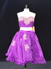 Eggplant Purple Sweetheart Neckline Appliques and Ruffles Prom Evening Gown Sleeveless Zipper