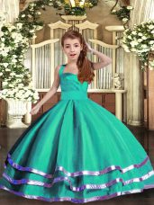 Floor Length Ball Gowns Sleeveless Turquoise Little Girls Pageant Dress Wholesale Lace Up