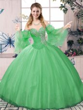 Free and Easy Green Long Sleeves Tulle Lace Up Sweet 16 Dresses for Sweet 16 and Quinceanera