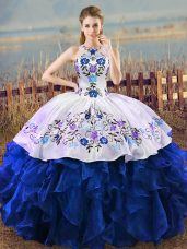 Exceptional Halter Top Sleeveless Organza Ball Gown Prom Dress Embroidery and Ruffles Lace Up