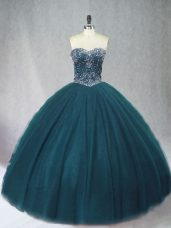 Beauteous Floor Length Ball Gowns Sleeveless Peacock Green Ball Gown Prom Dress Lace Up