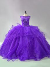 Purple Organza Lace Up 15 Quinceanera Dress Sleeveless Brush Train Beading and Ruffles