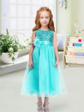Aqua Blue Organza Zipper Toddler Flower Girl Dress Sleeveless Tea Length Sequins and Hand Made Flower