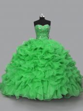 Floor Length Green Quinceanera Gowns Sweetheart Sleeveless Lace Up