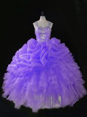 Lavender Ball Gowns Beading and Ruffles and Pick Ups 15 Quinceanera Dress Zipper Organza Sleeveless Floor Length