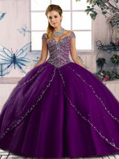 Free and Easy Purple Cap Sleeves Tulle Brush Train Lace Up Ball Gown Prom Dress for Sweet 16 and Quinceanera