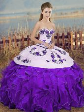 Clearance White And Purple Organza Lace Up Sweetheart Sleeveless Floor Length Sweet 16 Quinceanera Dress Embroidery and Ruffles and Bowknot