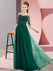 Glamorous Bateau Half Sleeves Bridesmaid Gown Floor Length Beading and Lace Dark Green Chiffon