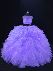 Lavender Two Pieces Scoop Sleeveless Organza Floor Length Zipper Beading and Ruffles Quinceanera Gown