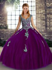 Purple Tulle Lace Up Vestidos de Quinceanera Sleeveless Floor Length Beading and Appliques