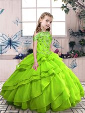 Ball Gowns High-neck Sleeveless Organza Floor Length Lace Up Beading Little Girl Pageant Gowns