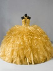 Gold High-neck Zipper Beading and Ruffles Quinceanera Dress Sleeveless