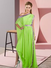 Yellow Green Empire Chiffon One Shoulder Sleeveless Sequins Asymmetrical Side Zipper Prom Dress
