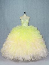 Super Multi-color Lace Up Sweetheart Beading and Ruffles Ball Gown Prom Dress Organza Sleeveless