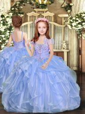 Blue Ball Gowns Beading Little Girls Pageant Dress Wholesale Lace Up Organza Sleeveless Floor Length