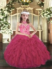 Pretty Sleeveless Lace Up Floor Length Appliques and Ruffles Kids Pageant Dress