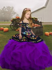 Best Floor Length Ball Gowns Sleeveless Purple Kids Pageant Dress Lace Up
