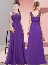 New Style Chiffon Sleeveless Floor Length Quinceanera Court of Honor Dress and Beading and Appliques