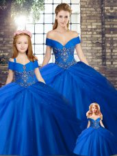 Royal Blue Sleeveless Tulle Brush Train Lace Up Sweet 16 Quinceanera Dress for Military Ball and Sweet 16 and Quinceanera