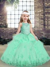 Floor Length Ball Gowns Sleeveless Apple Green Child Pageant Dress Lace Up