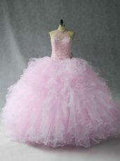 Sleeveless Floor Length Beading and Ruffles Lace Up 15th Birthday Dress with Pink