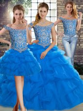 Blue Sleeveless Tulle Brush Train Lace Up Ball Gown Prom Dress for Military Ball and Sweet 16 and Quinceanera