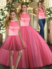 Adorable Coral Red Backless Halter Top Beading 15th Birthday Dress Tulle Sleeveless