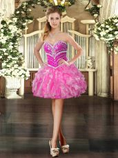 Hot Pink Lace Up Sweetheart Beading and Ruffles Prom Dress Organza Sleeveless