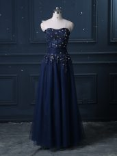 Modern Sleeveless Tulle Floor Length Zipper Dress for Prom in Navy Blue with Lace