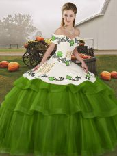 Adorable Olive Green Sleeveless Embroidery and Ruffled Layers Lace Up Quinceanera Dresses
