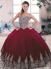 Burgundy Side Zipper Sweetheart Beading and Embroidery Quinceanera Gowns Tulle Sleeveless