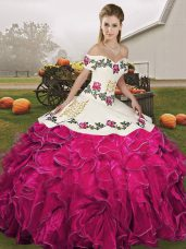 Best Selling Sleeveless Floor Length Embroidery and Ruffles Lace Up Quince Ball Gowns with Fuchsia