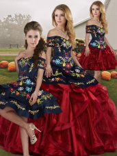 Red And Black Lace Up Quince Ball Gowns Embroidery and Ruffles Sleeveless Floor Length