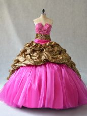 Superior Organza Sleeveless Sweet 16 Quinceanera Dress Brush Train and Beading and Pick Ups