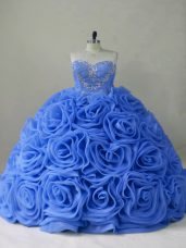 Blue Sleeveless Organza Brush Train Lace Up Quinceanera Gowns for Sweet 16 and Quinceanera