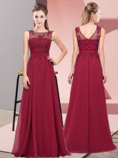 Enchanting Floor Length Empire Sleeveless Burgundy Quinceanera Court Dresses Zipper