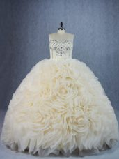 Champagne Lace Up 15th Birthday Dress Beading and Ruffles Sleeveless Brush Train