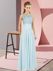 Deluxe Light Blue Sleeveless Floor Length Beading Backless Dress for Prom