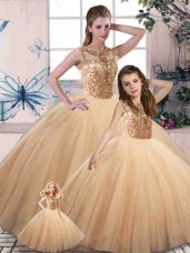 Gold Sleeveless Tulle Lace Up Sweet 16 Quinceanera Dress for Military Ball and Sweet 16 and Quinceanera