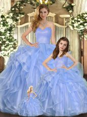 Floor Length Lavender Quince Ball Gowns Sweetheart Sleeveless Lace Up