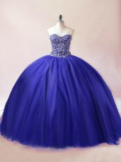 Royal Blue Lace Up Sweetheart Beading Quinceanera Gown Tulle Sleeveless
