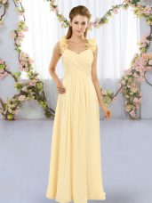 Empire Quinceanera Court Dresses Yellow Straps Chiffon Sleeveless Floor Length Lace Up